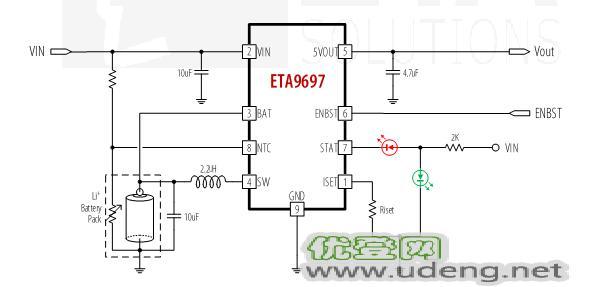 钰泰ETA9697一颗耐压20V的充电仓方案IC
